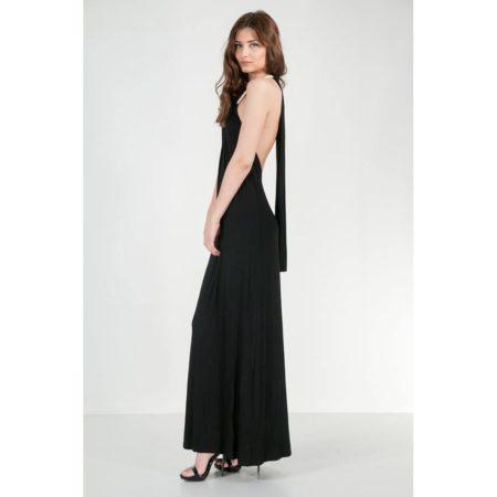 Μαύρο φόρεμα μακρύ με ανοιχτή πλάτη