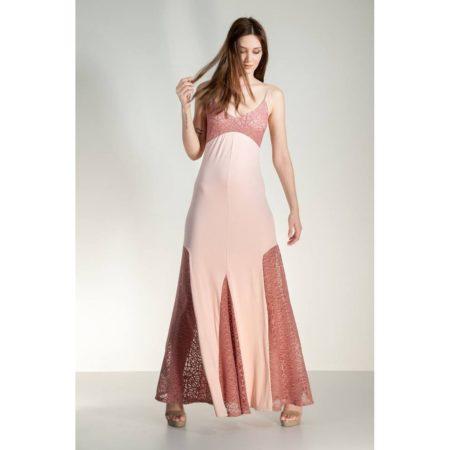 Τιράντα μακρύ φόρεμα με δαντέλες