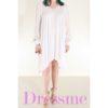 Φόρεμα λευκό κοντό μπροστά