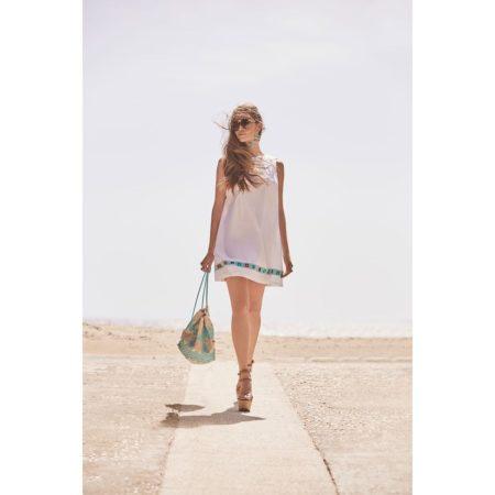 Φόρεμα 70s αμάνικο κοντό