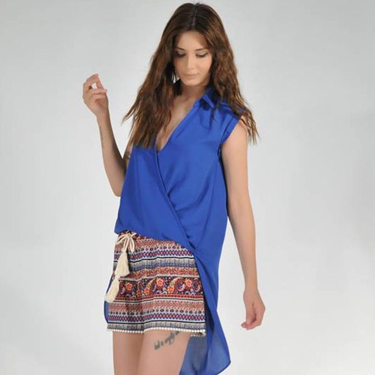 b97bf6b165fe Μπλουζοπουκάμισο κρουαζέ μακρύ πίσω - Dressme