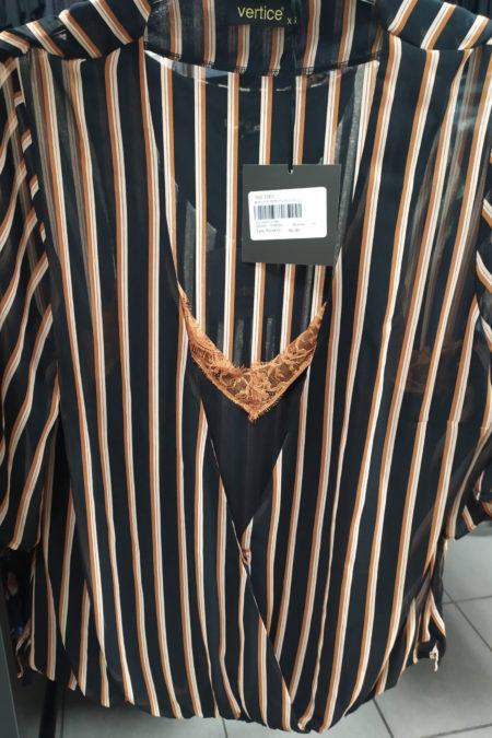 Κρουαζέ ριγέ κοντό μανίκι μπλούζα