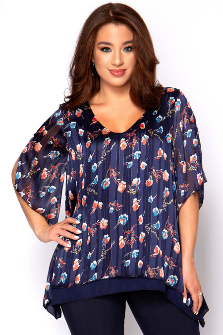 Φαρδιά μπλούζα V μεγάλα μεγέθη