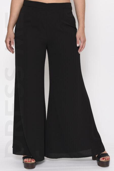 Μονόχρωμη παντελόνα καμπάνα μαύρη
