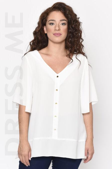 Μπλούζα λευκή ζορζέτα κουμπιά κοντό μανίκι