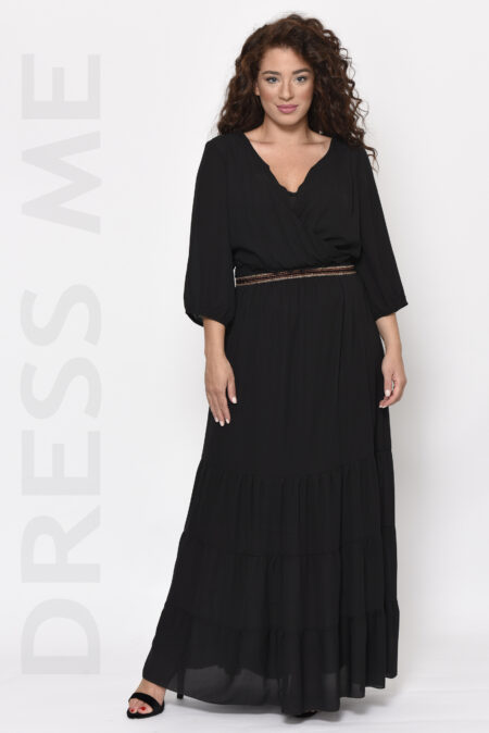 Φόρεμα μαύρο μακρύ κρουαζέ μεγάλα μεγέθη