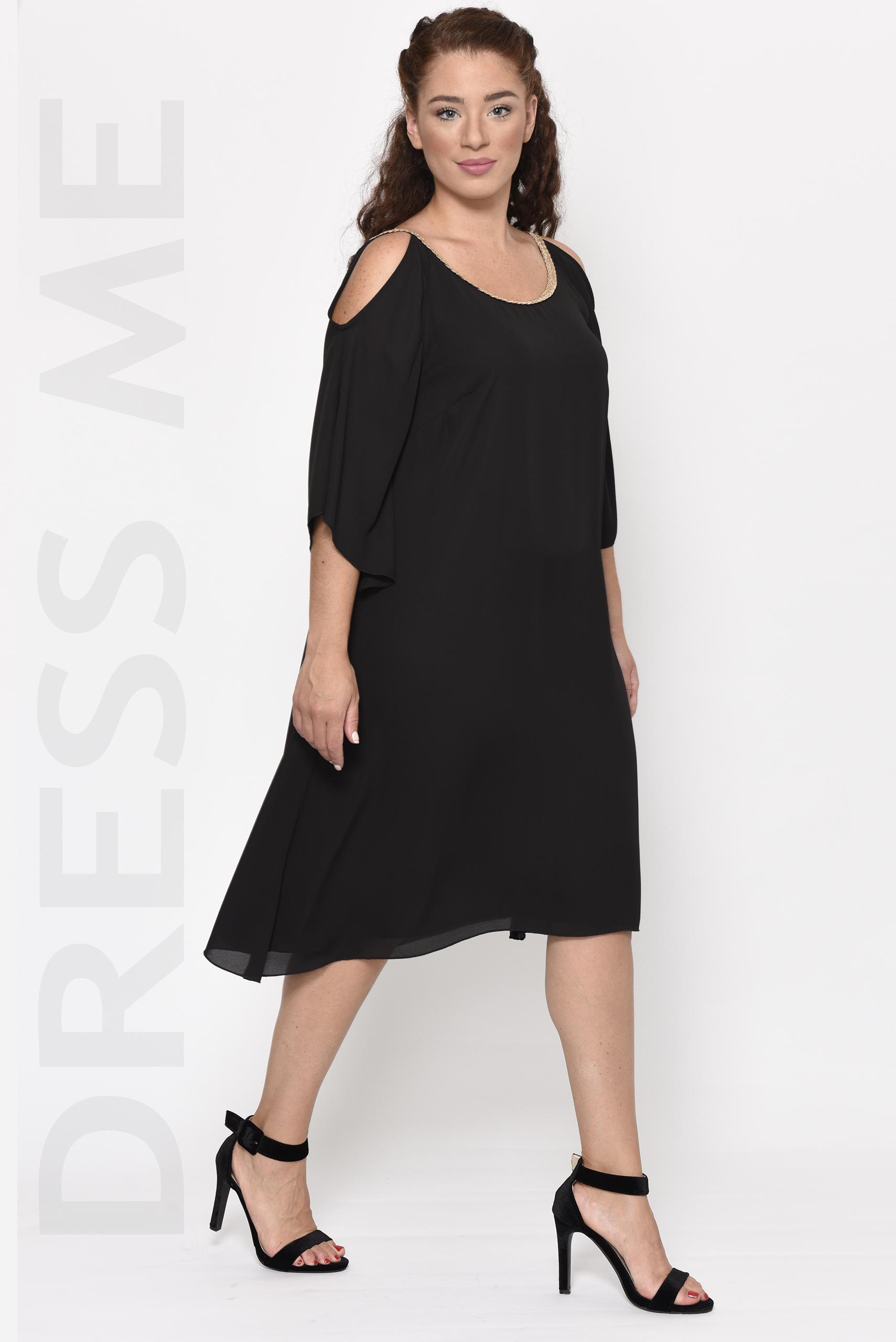 Φόρεμα μαύρο μακρύ κρουαζέ μεγάλα μεγέθη_14