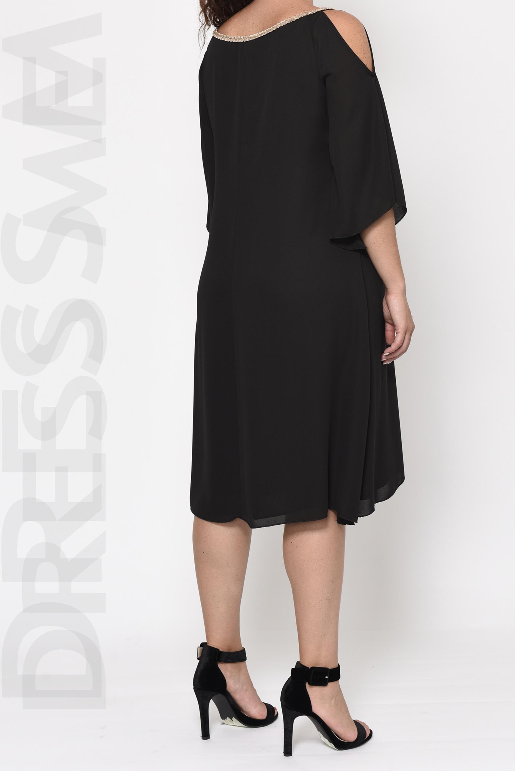 Φόρεμα μαύρο μακρύ κρουαζέ μεγάλα μεγέθη_16