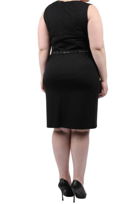 Μαύρο αμάνικο φόρεμα με ζώνη
