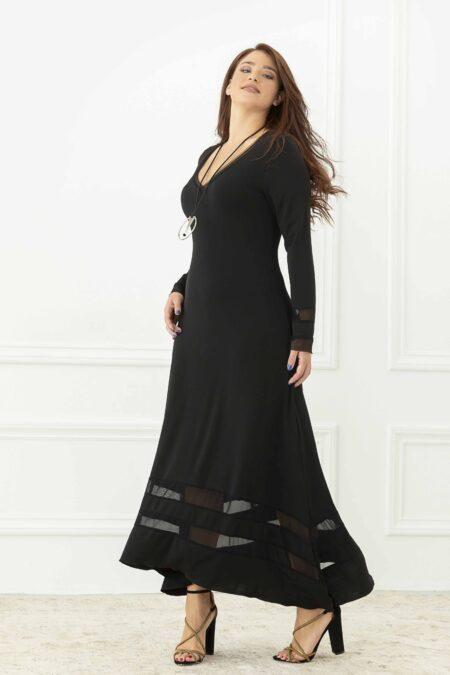 Φόρεμα μακρύ με διαφάνειες και κολιέ
